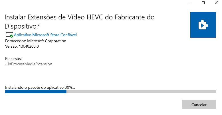 Instalando o codec HEVC no Windows 10