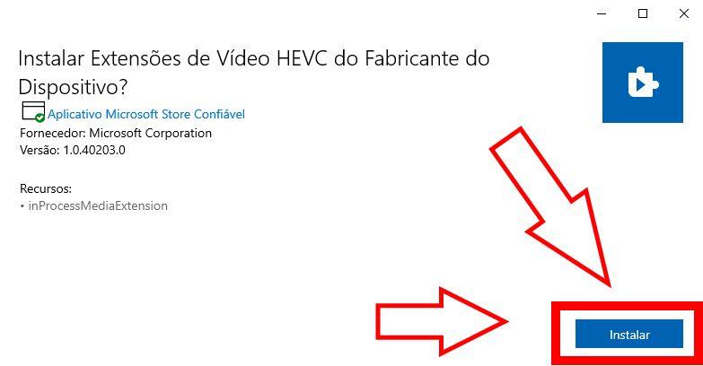 Botão de iniciar a instalação codec HEVC.