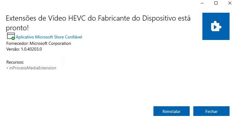 Codec HEVC já instalado no Windows 10